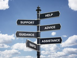 Help, support, advice, guidance, assistance and info crossroad signpost business concept