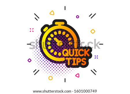 Helpful tricks sign. Halftone circles pattern. Quick tips icon. Tutorials with timer symbol. Classic flat quick tips icon.