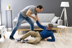 Helping Elder Senior Fallen Man After Fall Accident