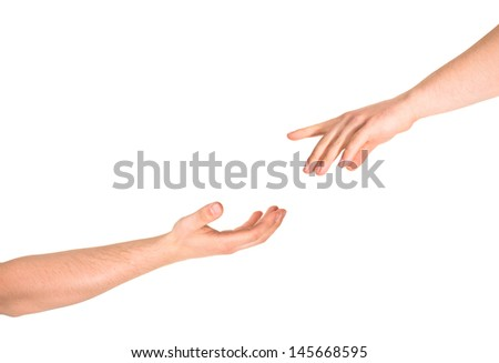 Helping hand caucasian hand gesture composition isolated over white background