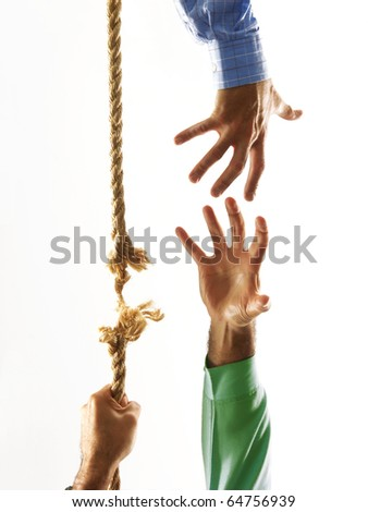 Helping hand shake and climb.