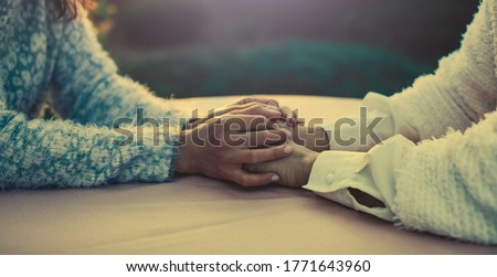 Helping hands, care for the elderly concept. Hands concept. Photo. Help.   Foto d'archivio ©