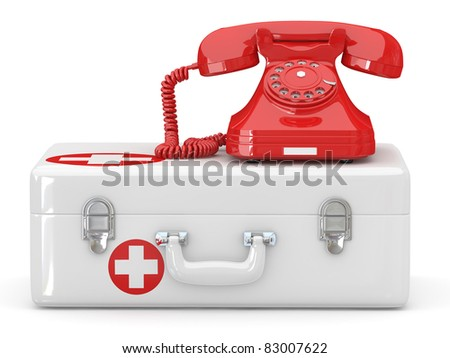 Helpline.Services. Phone on medical kit. 3d - stock photo