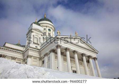 Helsinki cathedral - famous Helsinki landmark in winter, Finland. #96600277