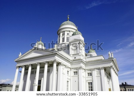 Helsinki Cathedral (Finnish: Helsingin tuomiokirkko or Suurkirkko). Evangelical Lutheran cathedral, on a clear day with deep blue sky. Finland.