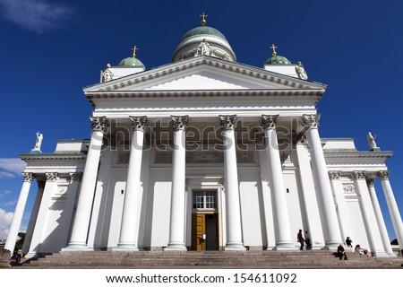 Helsinki Cathedral (Tuormiokirkko) the landmark in Helsinki or Helsingfors, the capital of Finland, Scandinavia (Northern Europe) #154611092