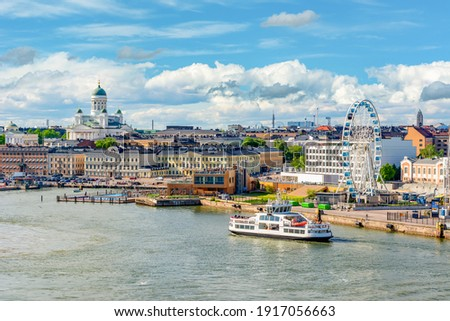 Helsinki cityscape with Helsinki Cathedral and port, Finland Stockfoto ©