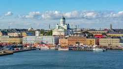 Helsinki cityscape with Helsinki Cathedral in summer, Finland