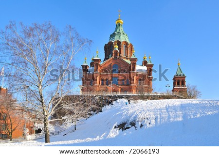 Helsinki, Finland. Assumption Cathedral in a wonderful winter day