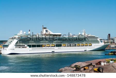 HELSINKI, FINLAND - JULY 7: Passenger ship Brilliance of the Seas in port  on July 7, 2013 Helsinki, Finland. The 90,090-ton, 2,112-passenger ship  is the second in Royal Caribbean\'s.