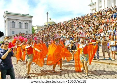 HELSINKI, FINLAND - JUNE 16: An unidentified dancers participates at the annual Samba Carnaval in Helsinki, Finland on June 16, 2012