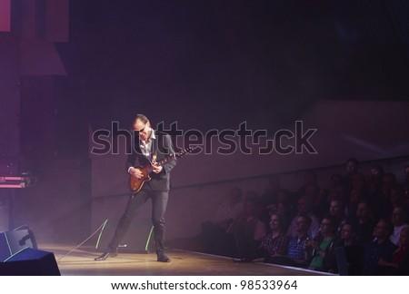 HELSINKI, FINLAND - MARCH 13: American blues rock guitarist and singer Joe Bonamassa performs at Finlandia Hall on March 13, 2012 in Helsinki, Finland.