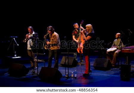 """HELSINKI, FINLAND - MARCH 15: Finnish-British """"Burn Out Mama"""" jazz band live on stage at Malmitalo Concert Hall on March 15, 2010 in Helsinki, Finlan"""