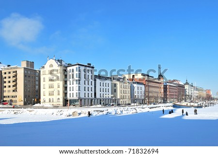 Helsinki, Finland. North Quay in a sunny winter day