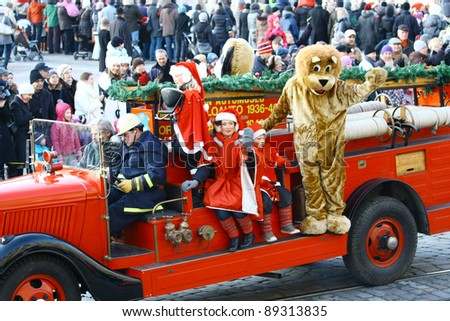HELSINKI, FINLAND - NOVEMBER 20: Traditional Christmas Street opening ceremony in Helsinki on November 20, 2011. Unidentified participants