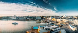Helsinki, Finland. Panoramic Aerial View Of Market Square, Street With Presidential Palace And Helsinki Cathedral.