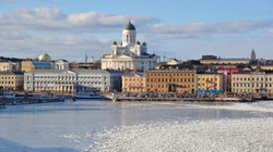 Helsinki skyline and Helsinki Cathedral in winter, Finland