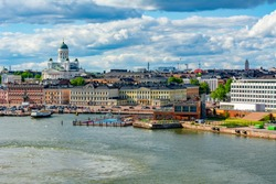 Helsinki skyline with Helsinki Cathedral and Market square in summer, Finland