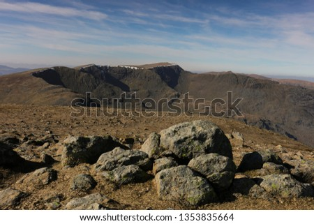 Helvellyn, Striding Edge and Dollywaggon Pike from Fairfield summit, the Lake District, England #1353835664