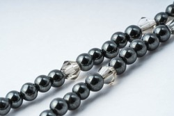 Hematite and gray glass bicone necklace