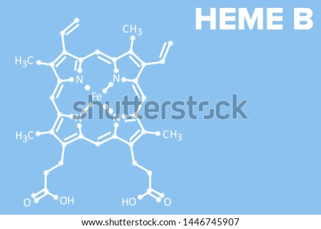 HEME B molecule logo on blue background