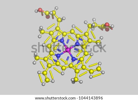 Heme Molecules 3D rendering