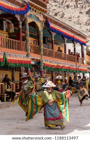 Hemis, Ladakh, India - June 27 2015 : Tibetan buddhist lamas (monks) dressed in mystical masks dance at  Hemis Tse Chu festival, Ladakh, North India #1188113497