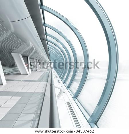 hemispherical airport interior in futuristic style