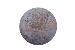 Hemispherical with irregularities, rough gray surface with brown patches. 3d abstract background, reminiscent of the landscape of a fantastic planet on white backdrop. Top view.
