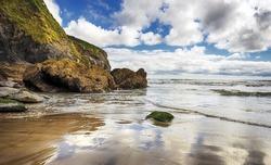 Hemmick beach near Penare on the south coast of Cornwall
