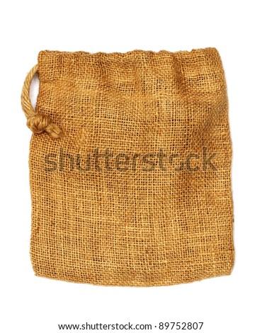 Hemp cloth bag on white background