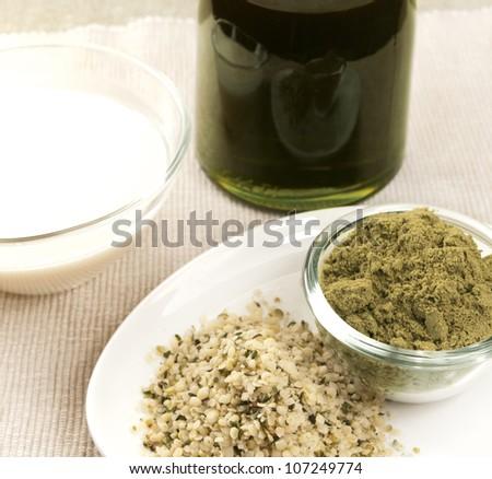 hemp products: oil, milk, powder, seeds