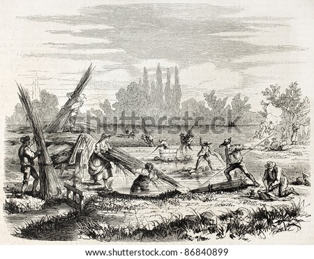 Hemp retting on Rhine bank. Created by Lallemand, published on L'Illustration, Journal Universel, Paris, 1860 Stok fotoğraf ©