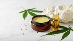 Hemp salve for joints and muscles and relaxing CBD serum oil as a complex in the treatment of the musculoskeletal system