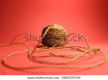 Hemp thread closeup in pink background Stok fotoğraf ©