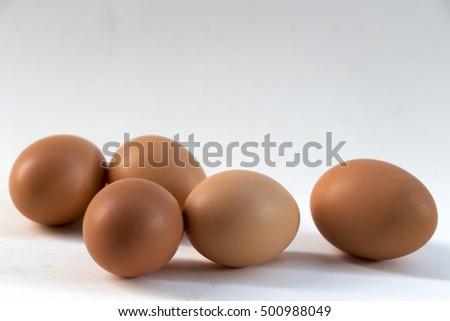 hen eggs on table #500988049