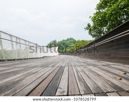 Henderson Waves Bridge Singapore with Undulating Curved Steel and Curved Wood Floor #1078528799