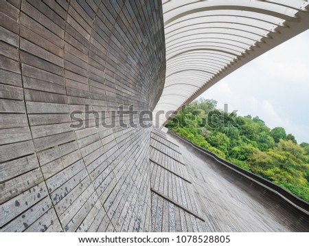 Henderson Waves Bridge Singapore with Undulating Curved Steel and Curved Wood Floor #1078528805