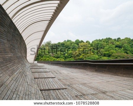 Henderson Waves Bridge Singapore with Undulating Curved Steel and Curved Wood Floor #1078528808