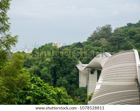 Henderson Waves Bridge Singapore with Undulating Curved Steel and Curved Wood Floor #1078528811
