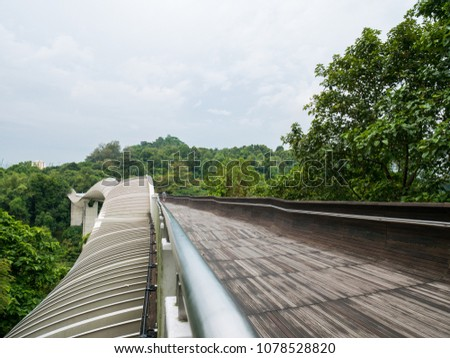 Henderson Waves Bridge Singapore with Undulating Curved Steel and Curved Wood Floor #1078528820