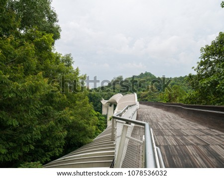 Henderson Waves Bridge Singapore with Undulating Curved Steel and Curved Wood Floor #1078536032