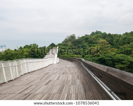 Henderson Waves Bridge Singapore with Undulating Curved Steel and Curved Wood Floor #1078536041