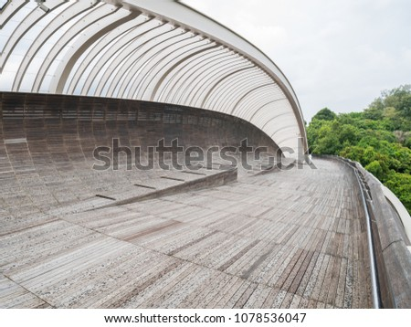 Henderson Waves Bridge Singapore with Undulating Curved Steel and Curved Wood Floor #1078536047