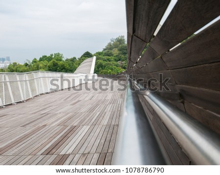 Henderson Waves Bridge Singapore with Undulating Curved Steel and Curved Wood Floor #1078786790