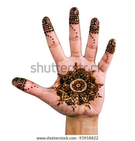 Henna design on the palm of the hand - isolated in white. - stock photo