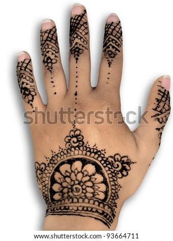 Hena on Henna Tattoo Body Art White Background Stock Photo 93664711