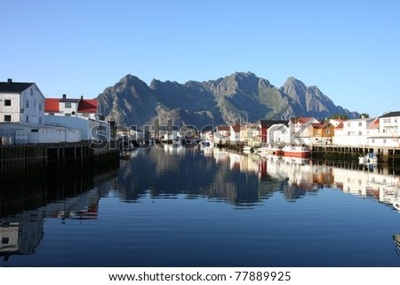 Henningsvær at Lofoten in northern Norway