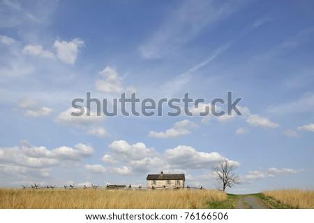 Henry House, Manassas Battlefield, Manassas, VA Horizontal With Copy Space - stock photo
