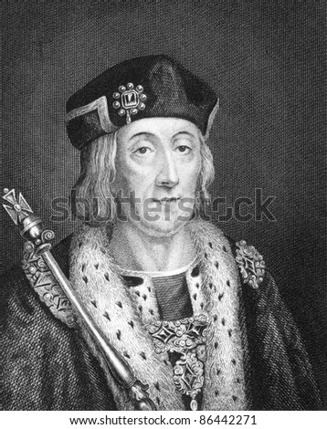 Henry VII (1457-1509). Engraved by Bocquet and published in the Catalogue of the Royal and Noble Authors, United Kingdom, 1806.